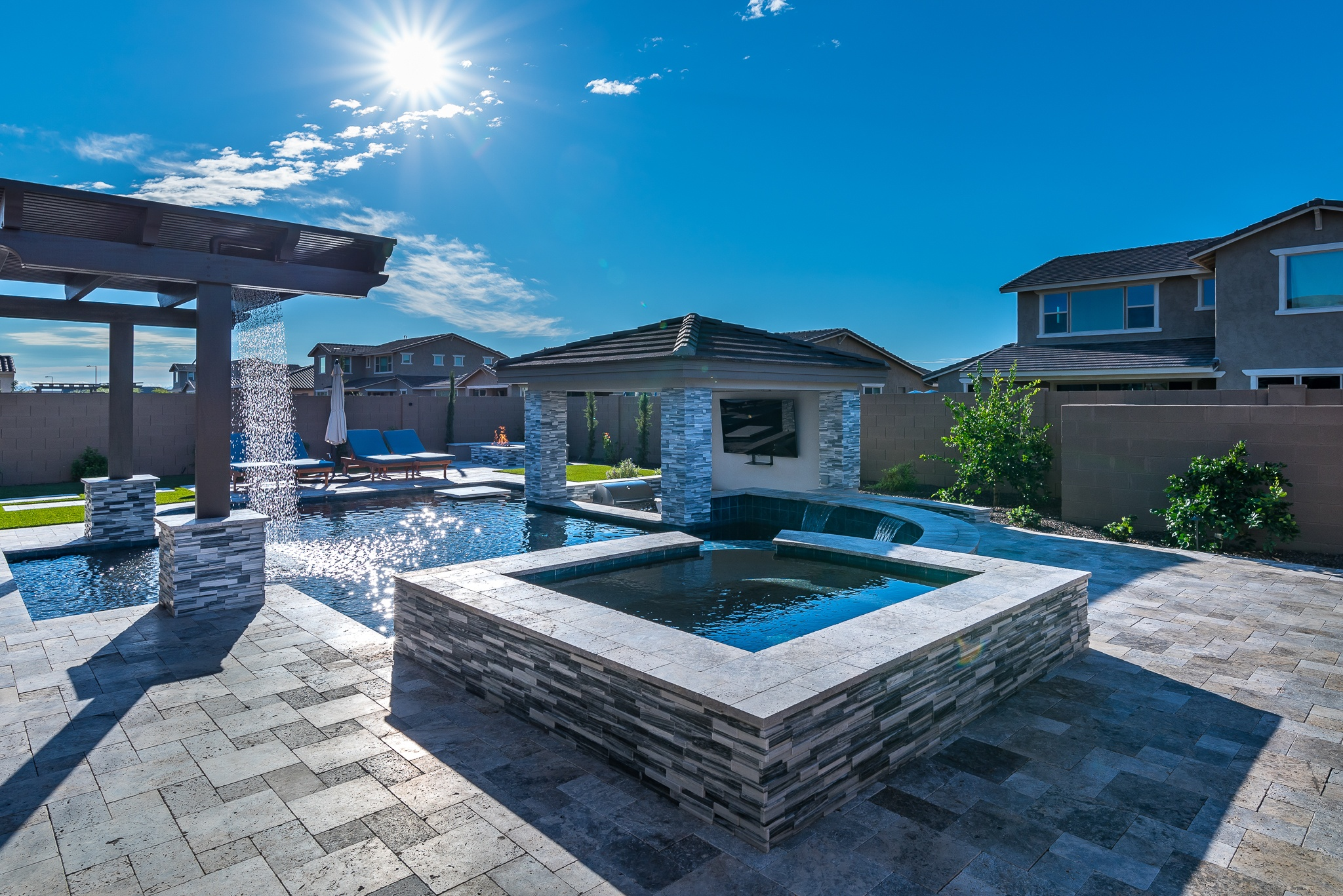 swimming pool design modern travertine pergola sunken kitchen baja deck