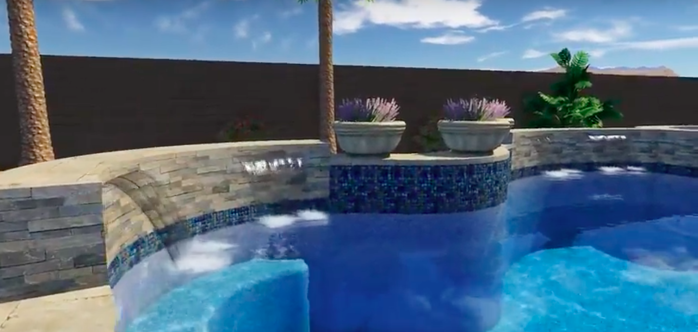 Arizona Swimming Pool Design - Seating Waterfall Freeform