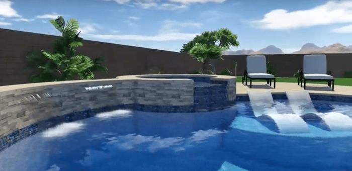 Arizona Pool Design - Freeform Modern Waterfall