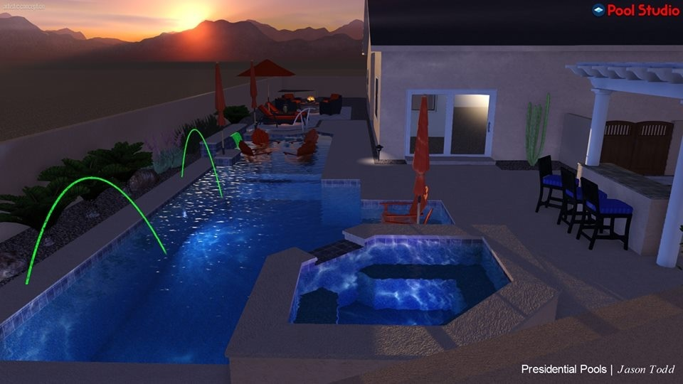 Night time swimming pool light design tucson az