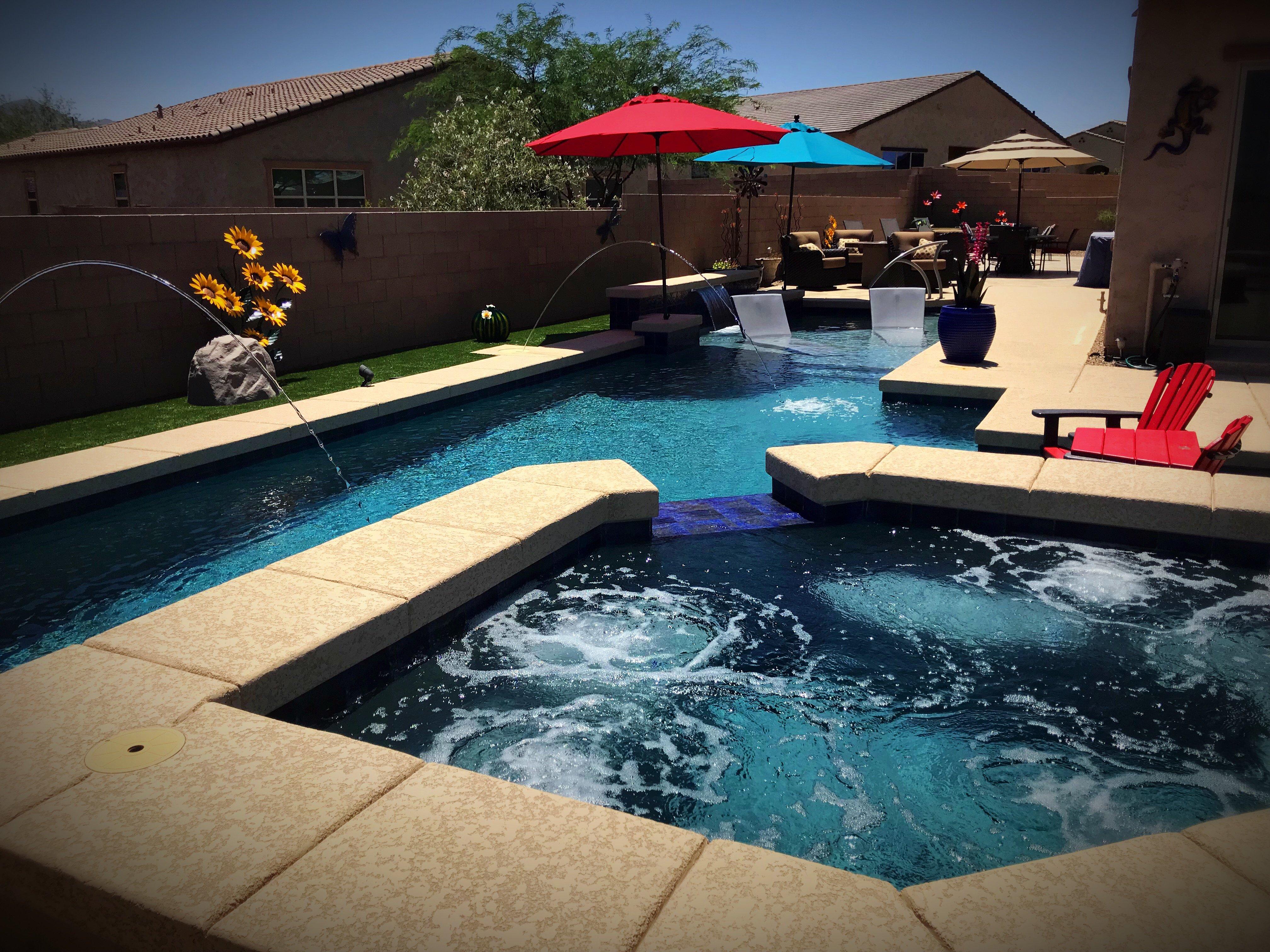 Tucson Swimming Pool Geometric Oversized Baja Decks Pool Spa
